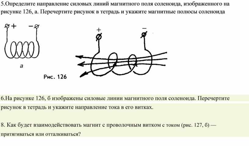 Определите направление силовых линий магнитного поля соленоида, изображенного на рисунке 126, а