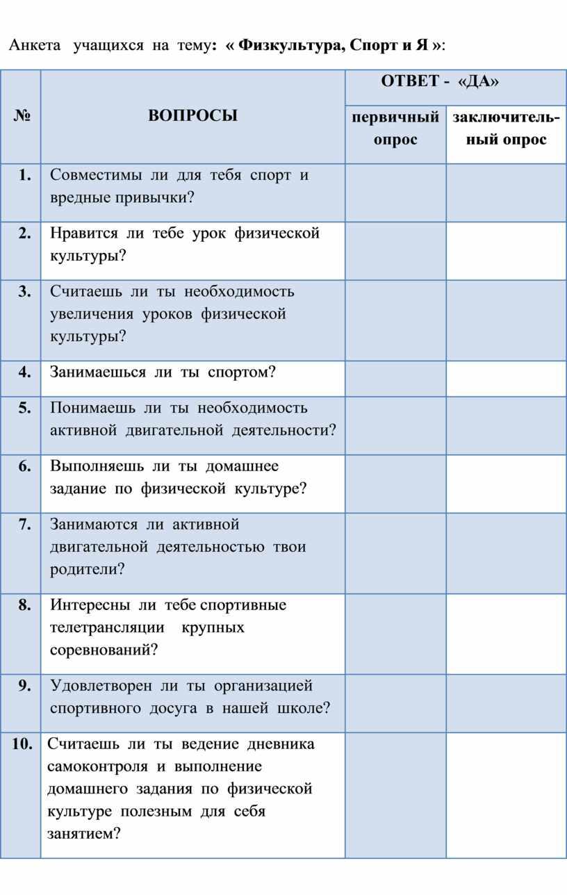 Анкета учащихся на тему : «
