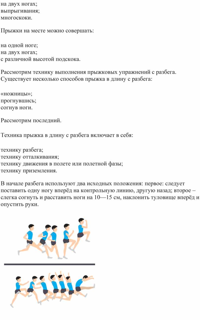 Прыжки на месте можно совершать: · на одной ноге; · на двух ногах; · с различной высотой подскока