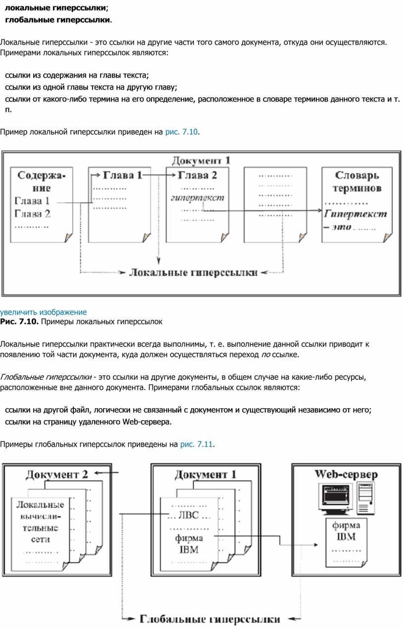 Локальные гиперссылки - это ссылки на другие части того самого документа, откуда они осуществляются