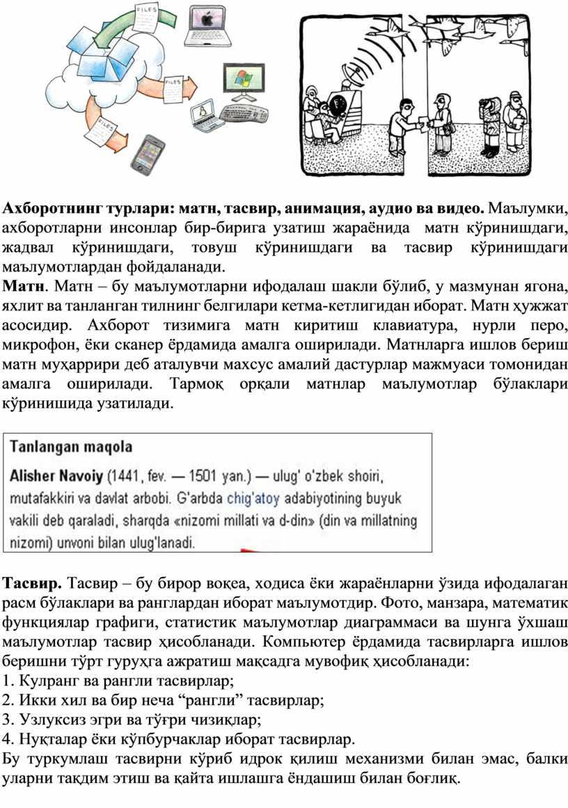 Ахборотнинг турлари: матн, тасвир, анимация, аудио ва видео
