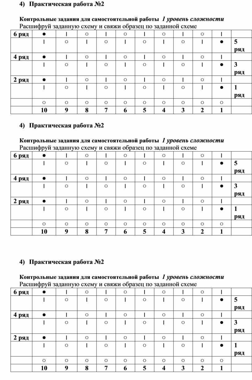 Практическая работа №2 Контрольные задания для самостоятельной работы 1 уровень сложности