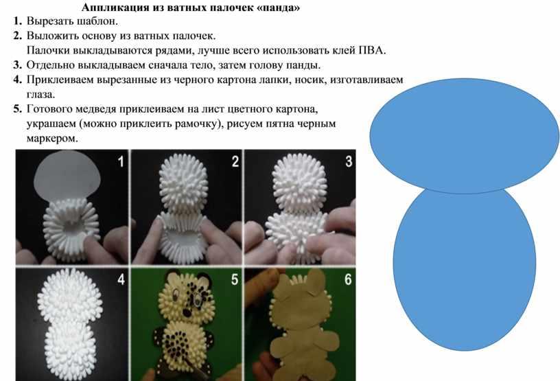 Аппликация из ватных палочек «панда» 1