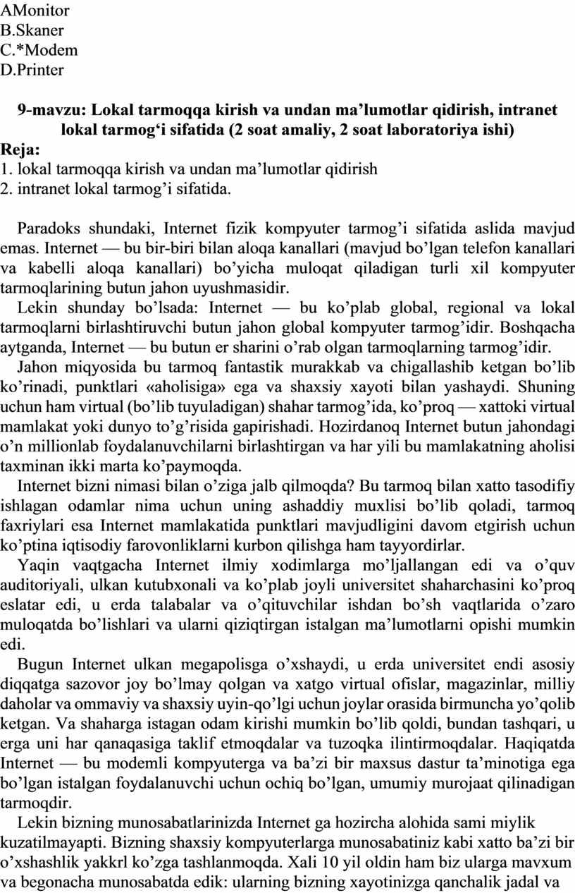 AMonitor B.Skaner C.*Modem