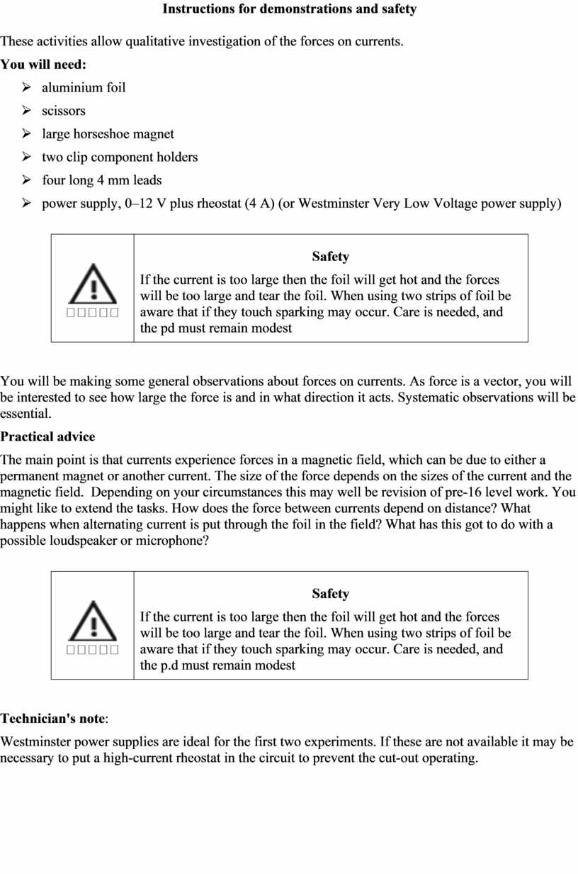Instructions for demonstrations and safety