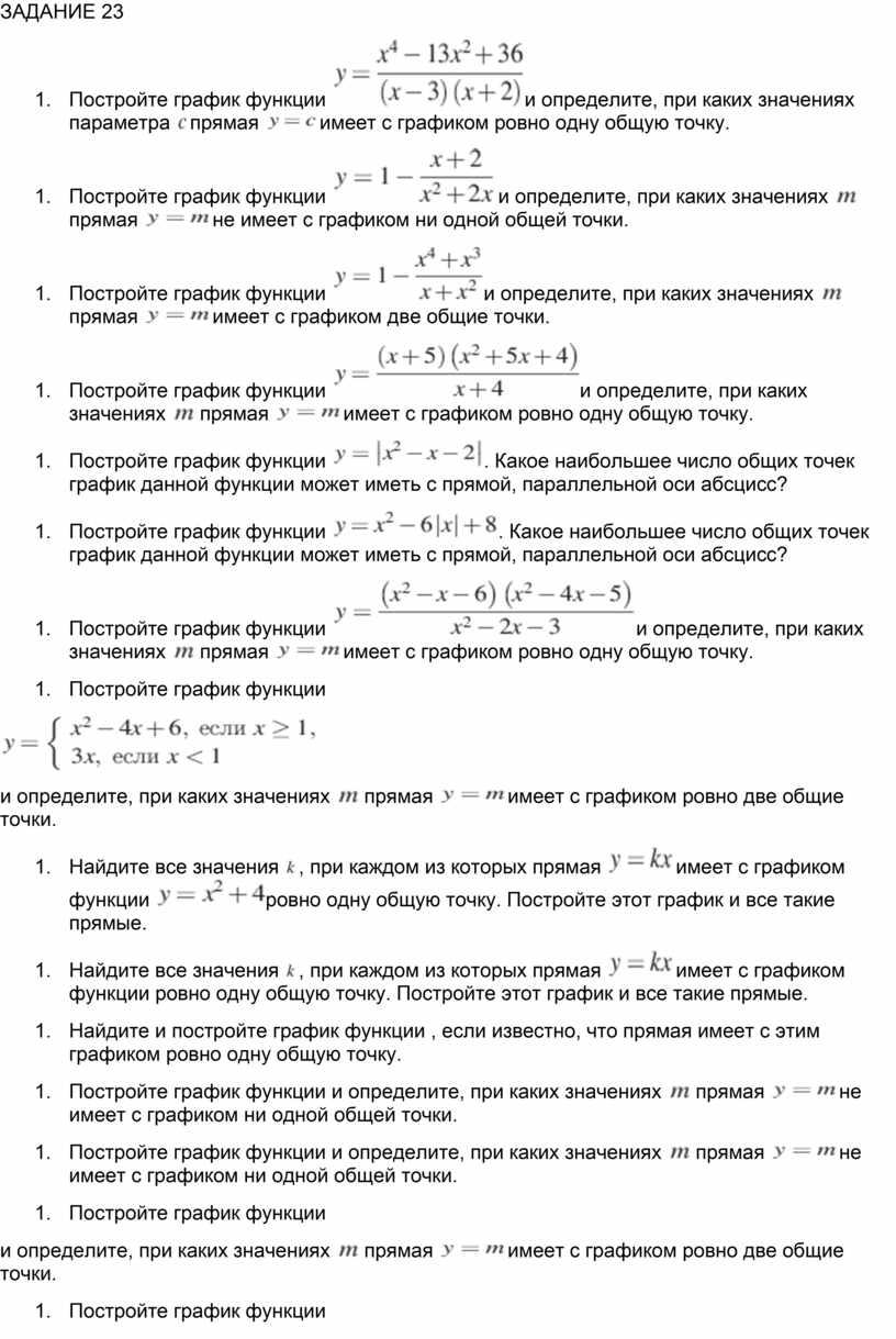 ЗАДАНИЕ 23 Постройте график функции и определите, при каких значениях параметра прямая имеет с графиком ровно одну общую точку
