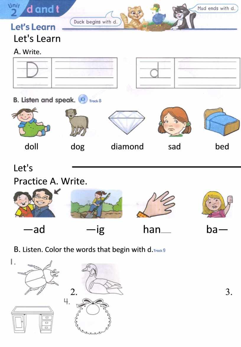 Let's Learn A. Write. doll dog diamond sad bed
