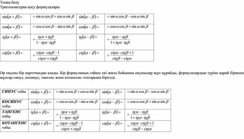 Топқа бөл у Тригонометрия қосу формулалары Әр оқушы бір карточкадан алады