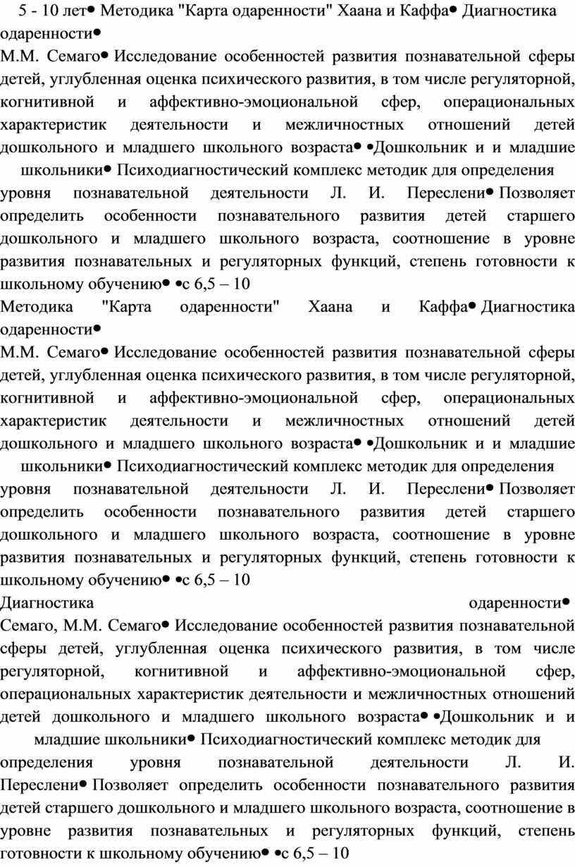 """Методика """"Карта одаренности"""" Хаана и"""
