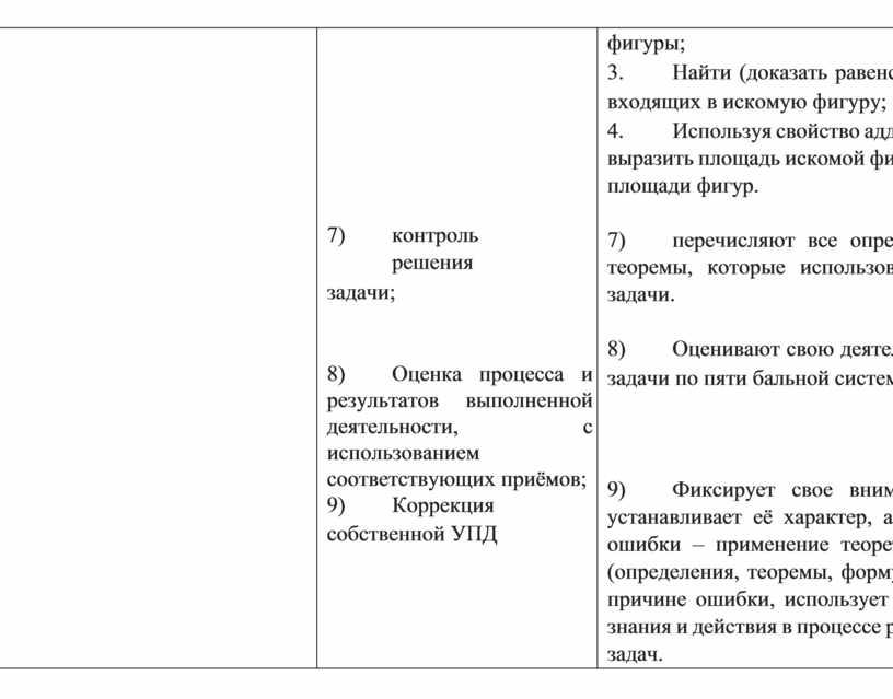 Оценка процесса и результатов выполненной деятельности, с использованием соответствующих приёмов; 9)