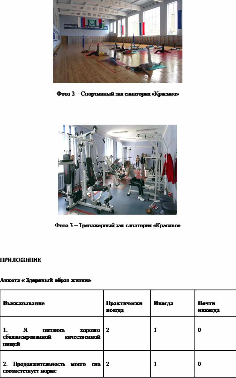Фото 2 – Спортивный зал санатория «Красиво»