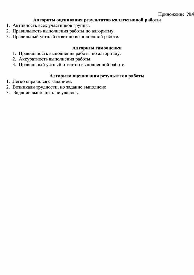 Приложение №4 Алгоритм оценивания результатов коллективной работы 1
