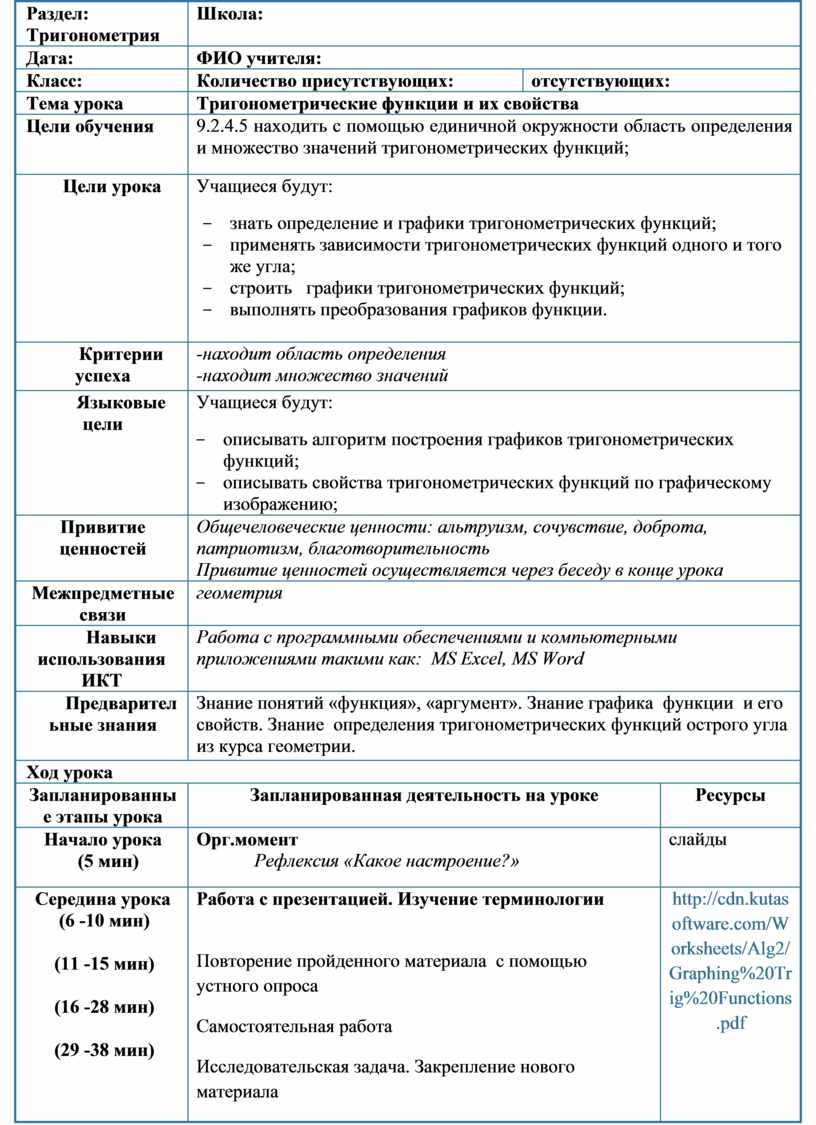 Раздел: Тригонометрия Школа :