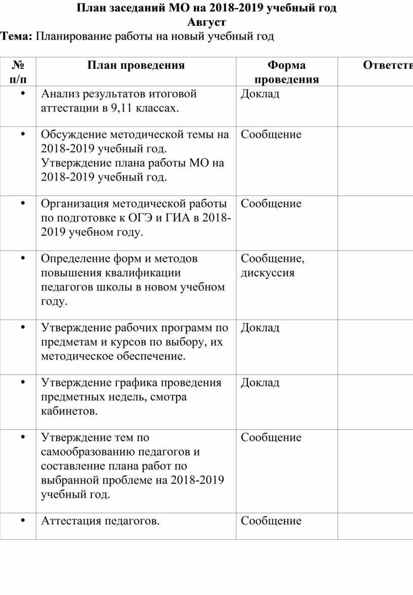 План заседаний МО на 2018-2019 учебный год