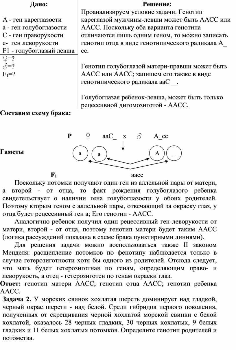 Дано: А - ген кареглазости а - ген голубоглазости