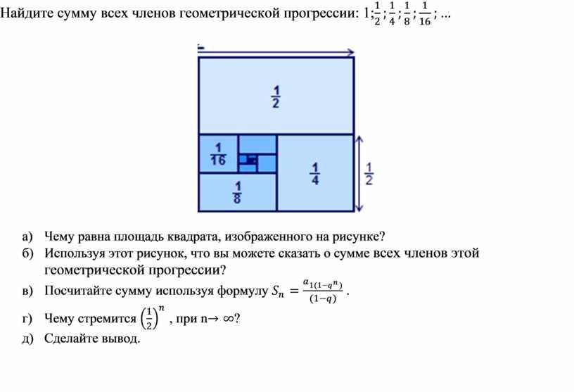 Найдите сумму всех членов геометрической прогрессии: 1; а)