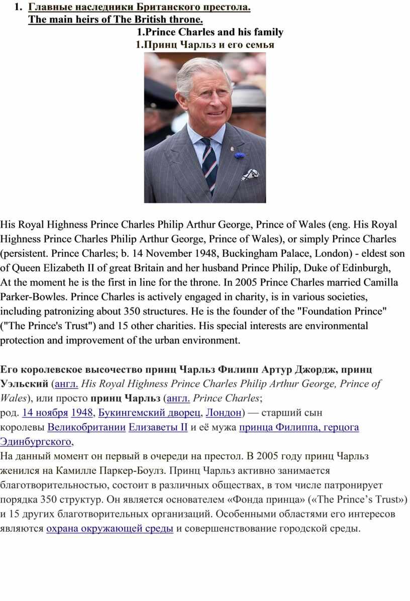 Главные наследники Британского престола