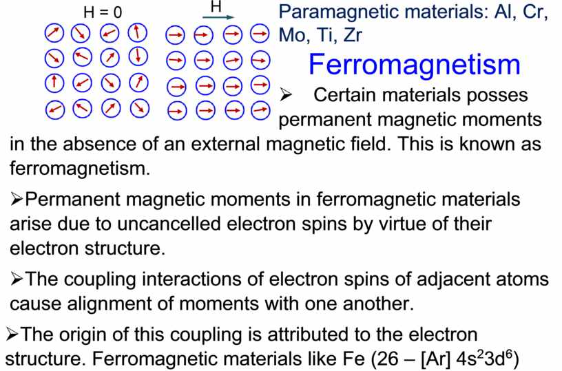 Paramagnetic materials: Al, Cr,