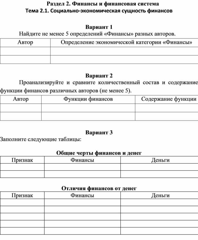 Раздел 2. Финансы и финансовая система