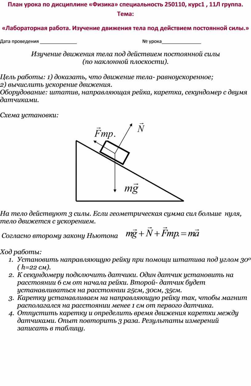 План урока по дисциплине «Физика» специальность 250110, курс1 , 11Л группа
