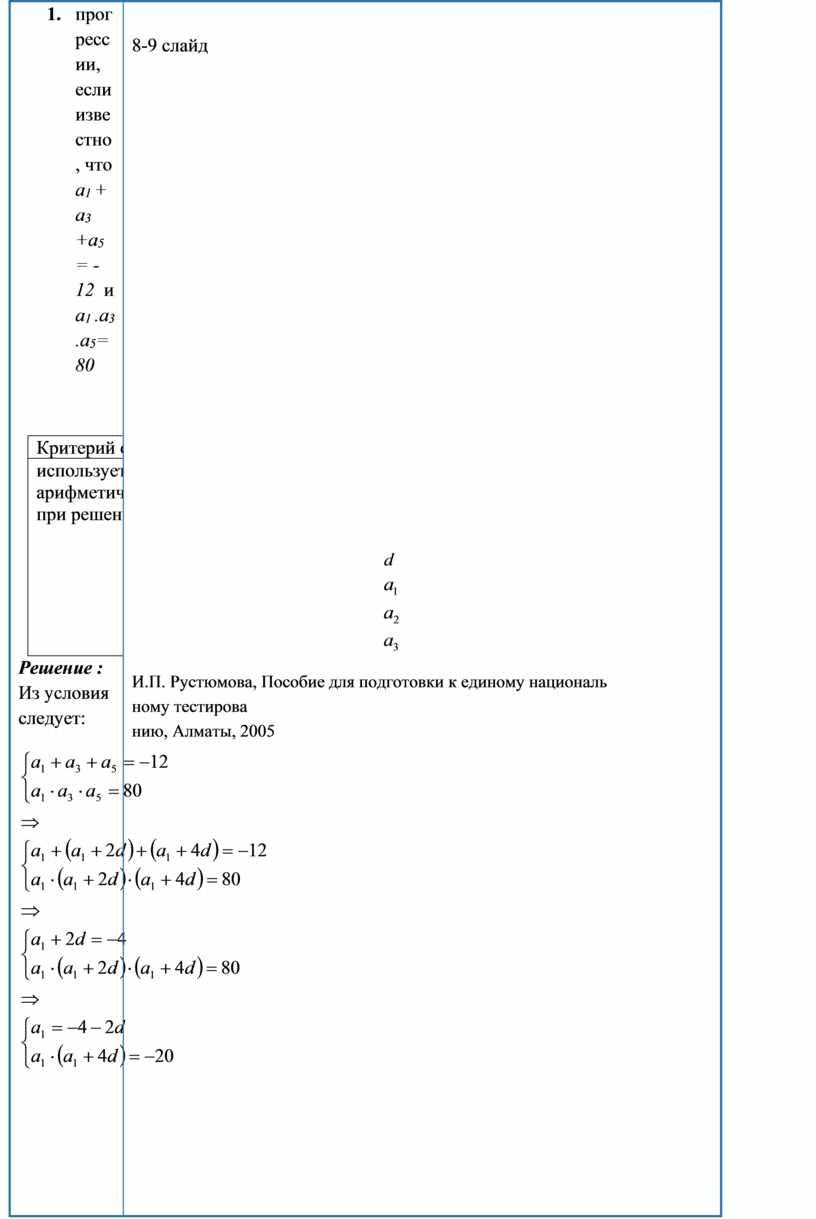 Критерий оценивания дескриптор балл и спользует формулу n-го члена арифмет ической прогрессии при решении задач составляет первое уравнение системы 1 составляет второе уравнение системы 1…