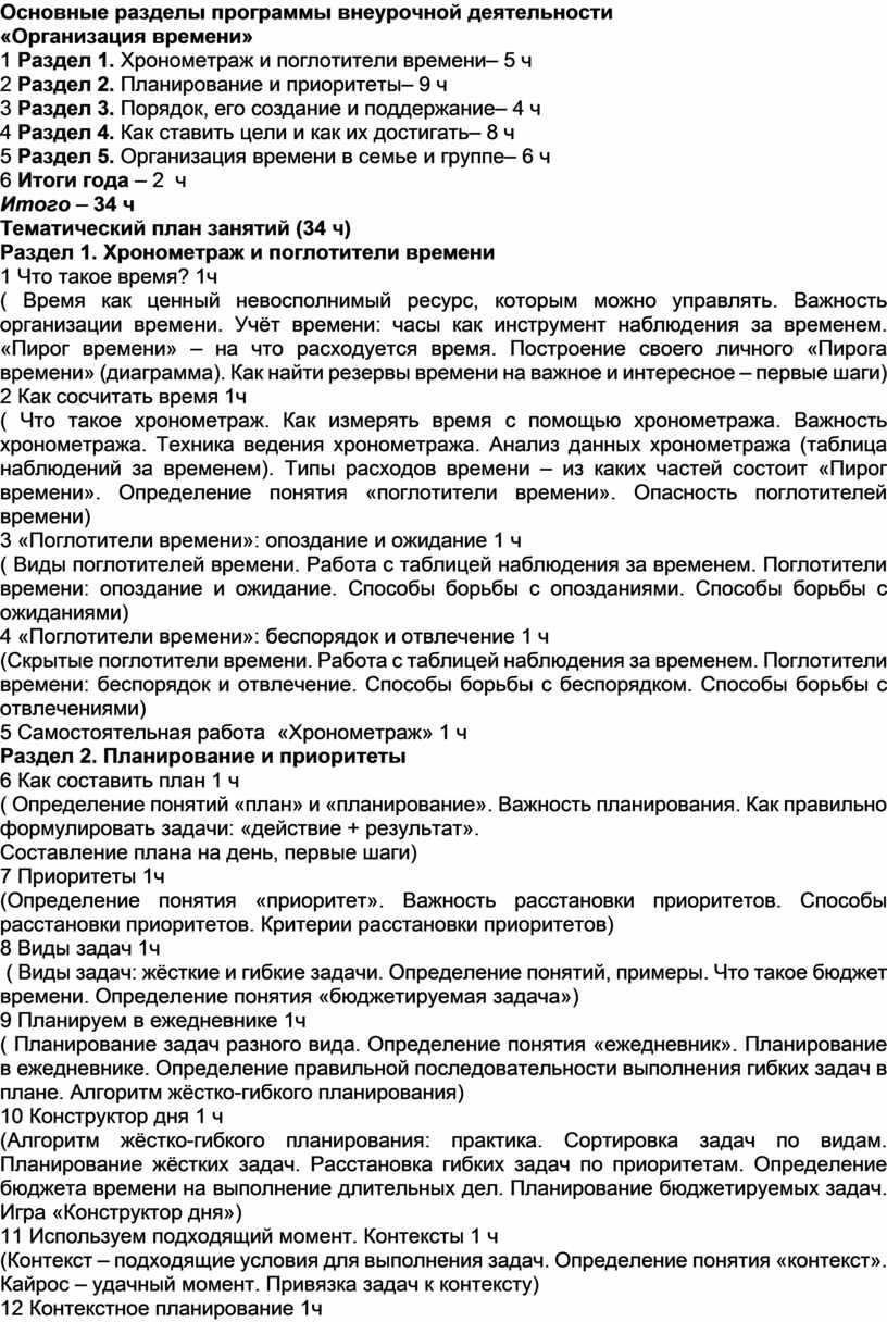 Основные разделы программы внеурочной деятельности «Организация времени» 1