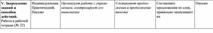 V. Закрепление знаний и способов действий