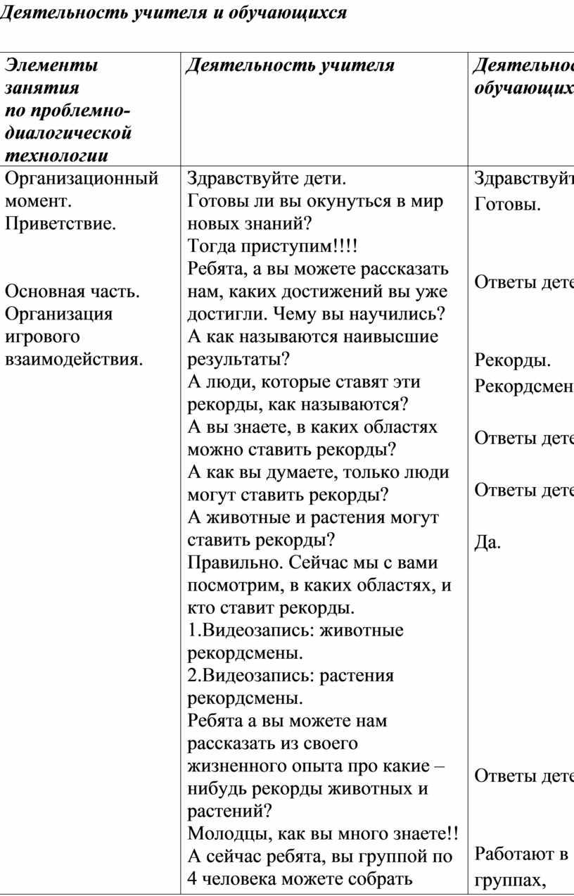Деятельность учителя и обучающихся №