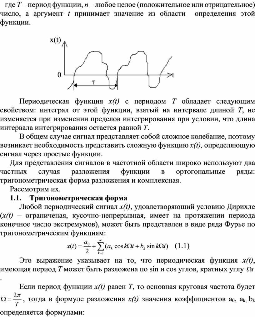 Т – период функции, n – любое целое (положительное или отрицательное) число, а аргумент t принимает значение из области определения этой функции