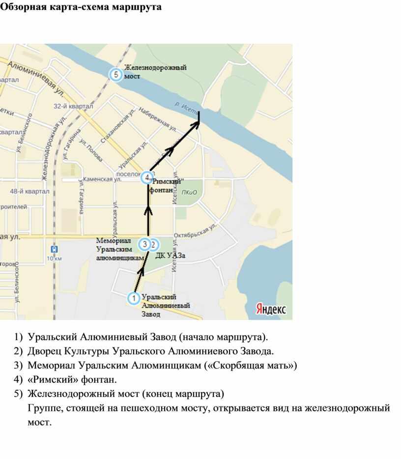 Обзорная карта-схема маршрута 1)
