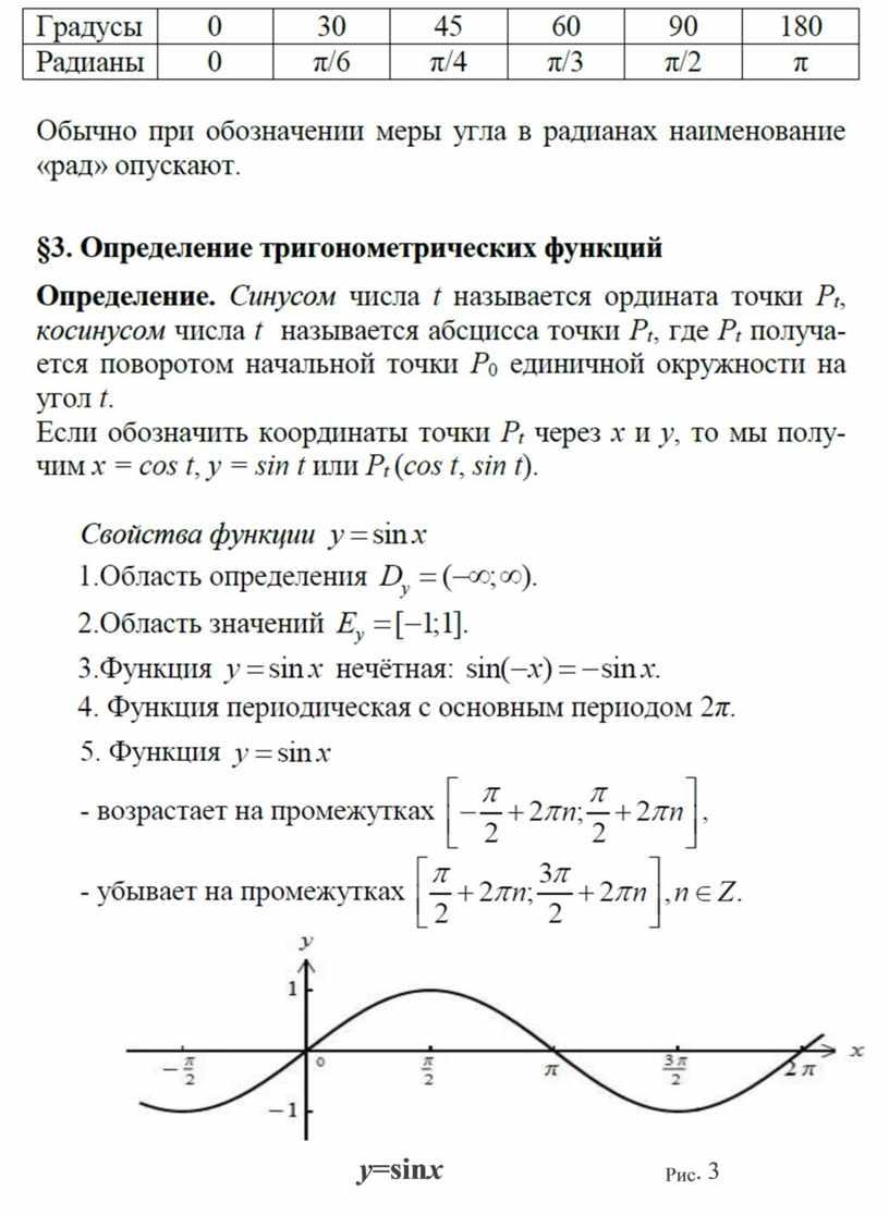 y =sin x Рис . 3
