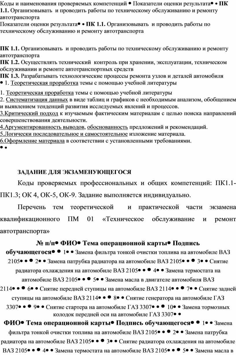 Коды и наименования проверяемых компетенций