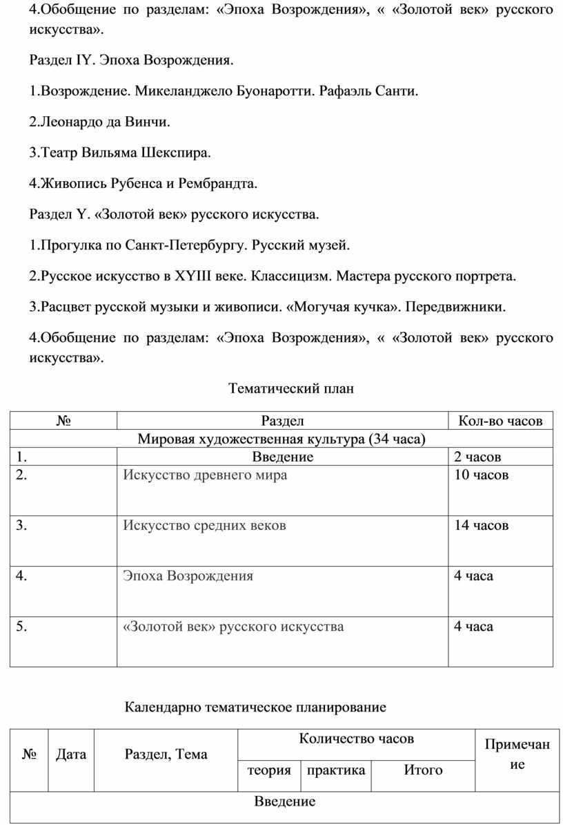 Обобщение по разделам: «Эпоха Возрождения», « «Золотой век» русского искусства»