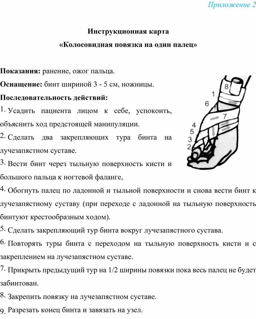 Приложение 2 Инструкционная карта «Колосовидная повязка на один палец»