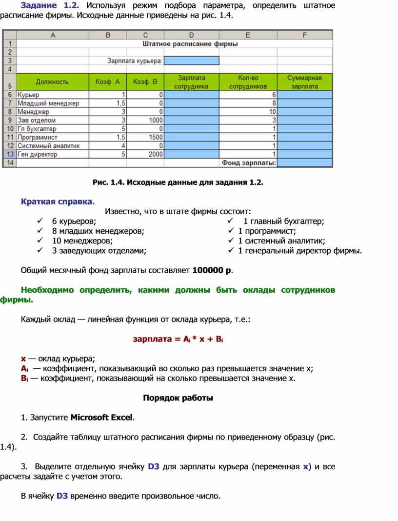 Задание 1.2. Используя режим подбора параметра, определить штатное расписание фирмы