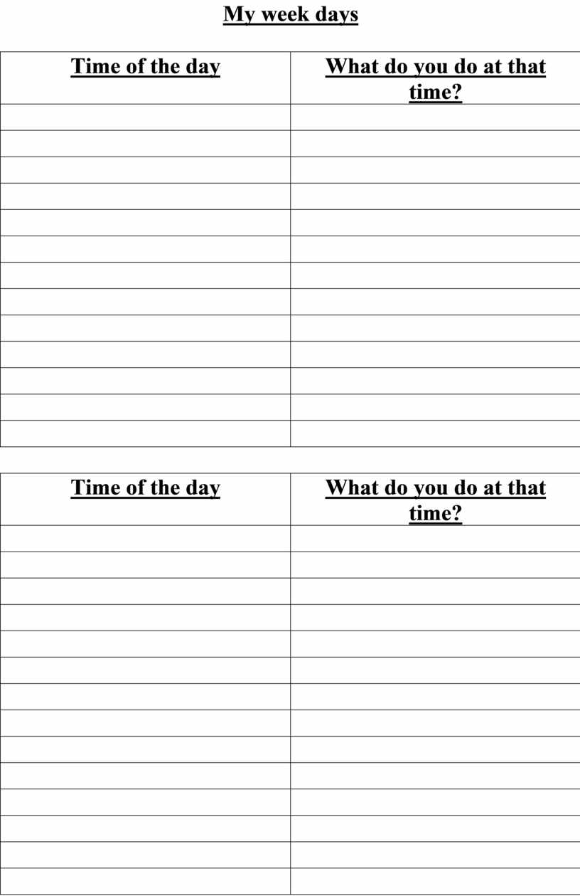 My week days Time of the day