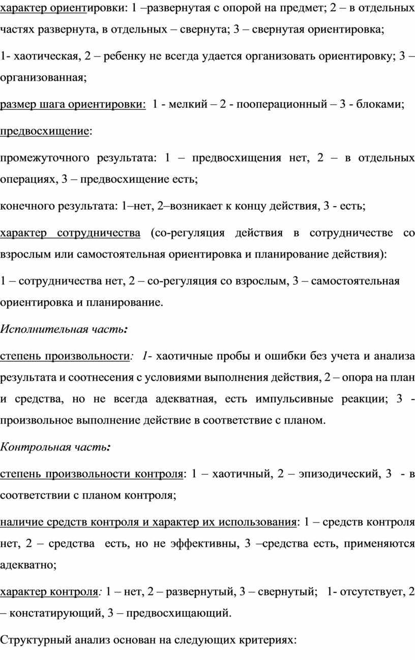 Исполнительная часть : степень произвольности : 1- хаотичные пробы и ошибки без учета и анализа результата и соотнесения с условиями выполнения действия, 2 – опора…