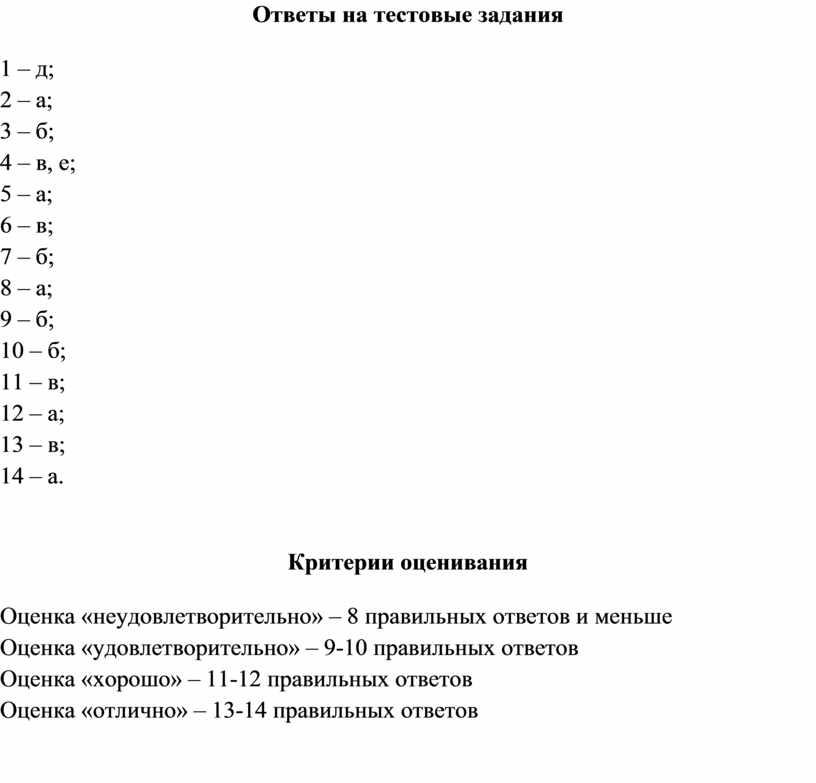Ответы на тестовые задания 1 – д; 2 – а; 3 – б; 4 – в, е; 5 – а; 6 – в; 7 –…