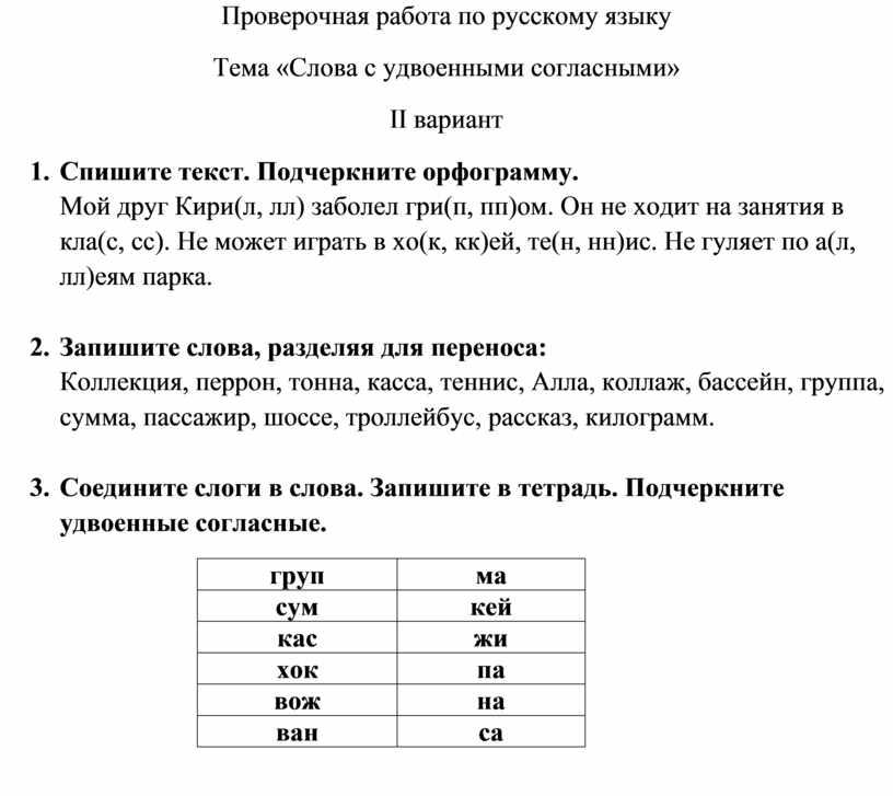 Проверочная работа по русскому языку
