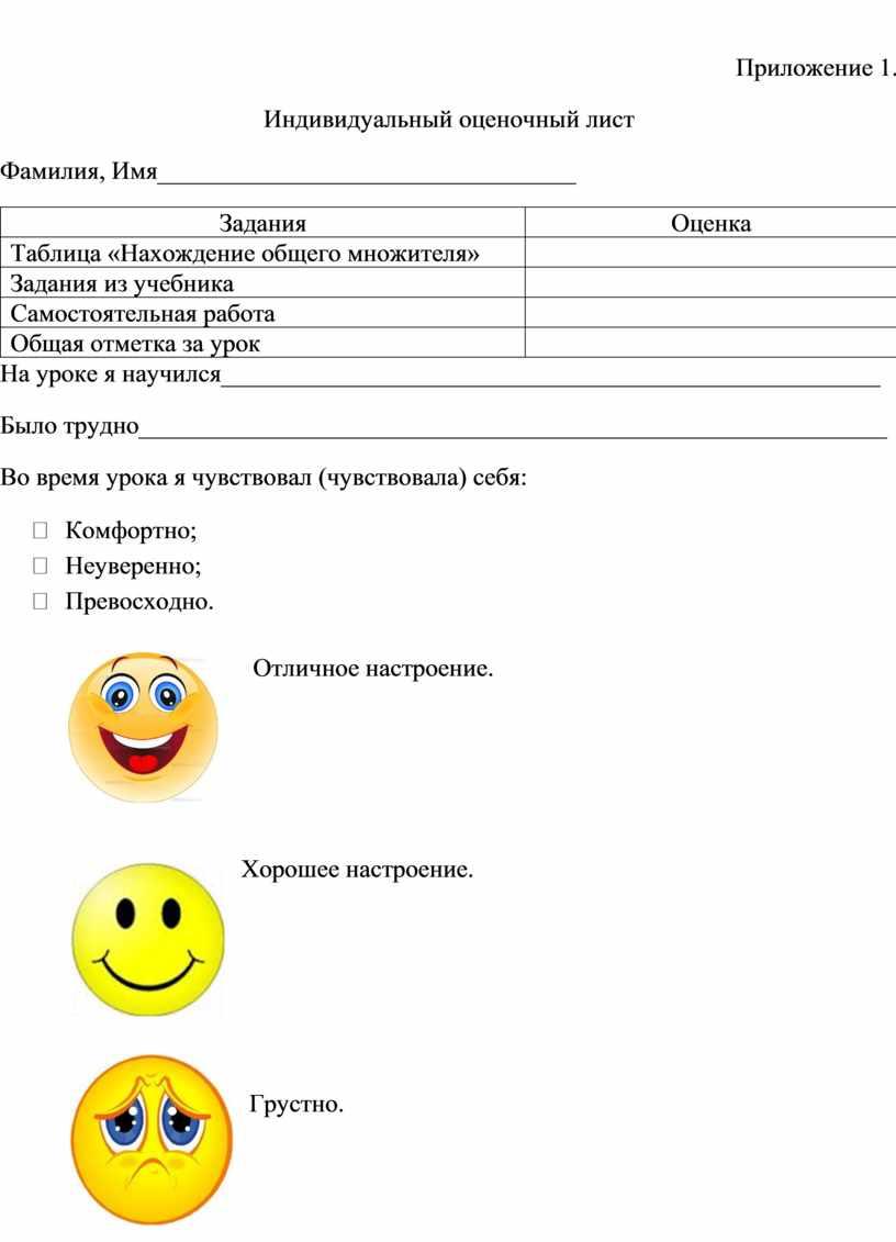 Приложение 1. Индивидуальный оценочный лист