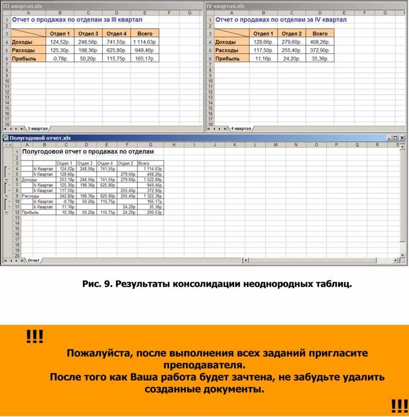 Рис. 9. Результаты консолидации неоднородных таблиц