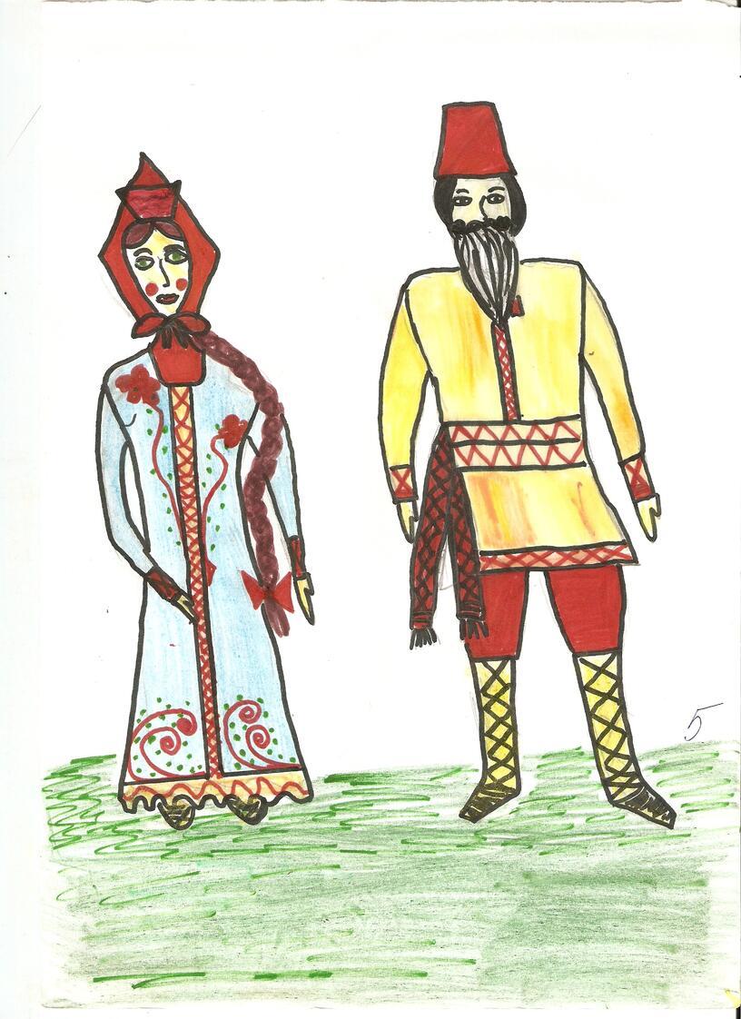 Детские работы по народному костюму.