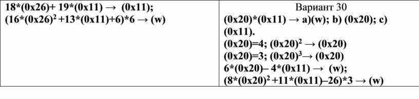 Вариант 30 (0 x 20)*(0 x 11) → a )( w ); b ) (0 x 20); c ) (0 x 11)