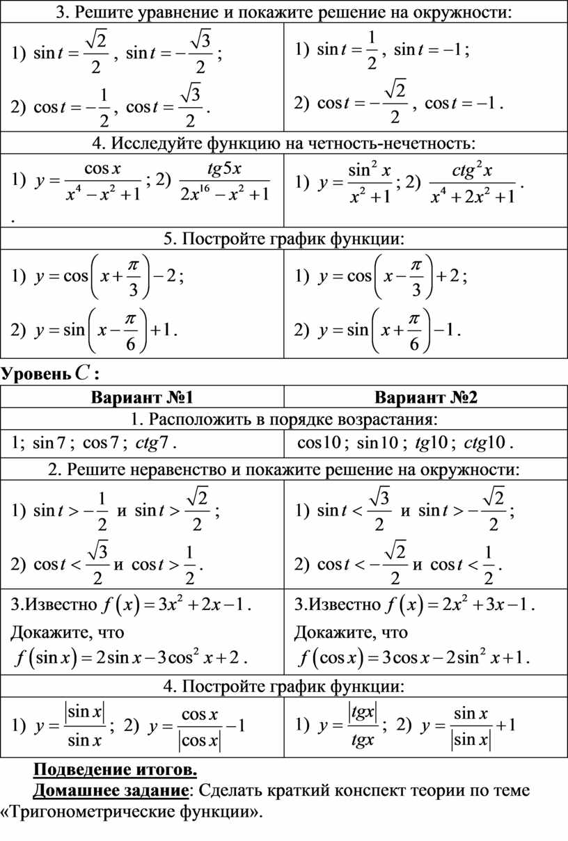 Решите уравнение и покажите решение на окружности: 1) , ; 2) ,
