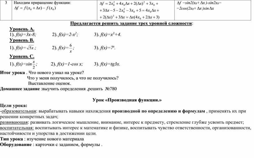 Находим приращение функции: =sin2(x 0 + )-sin2x 0 = =2cos(2x 0 + )sin