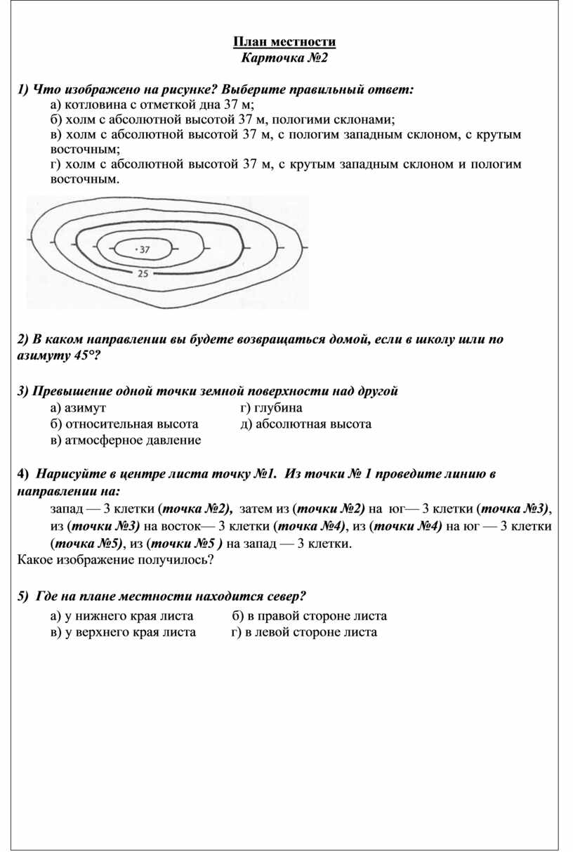 План местности Карточка №2 1)