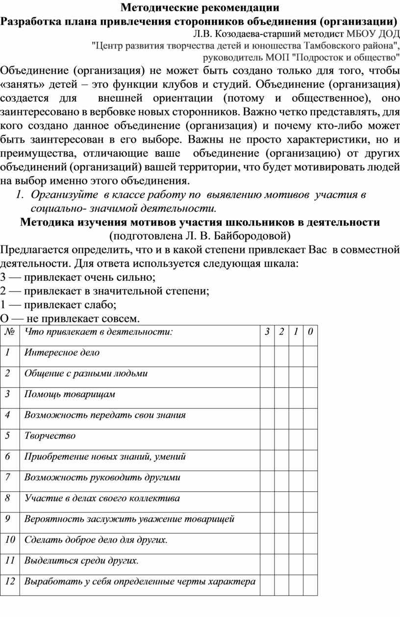 Методические рекомендации Разработка плана привлечения сторонников объединения (организации)