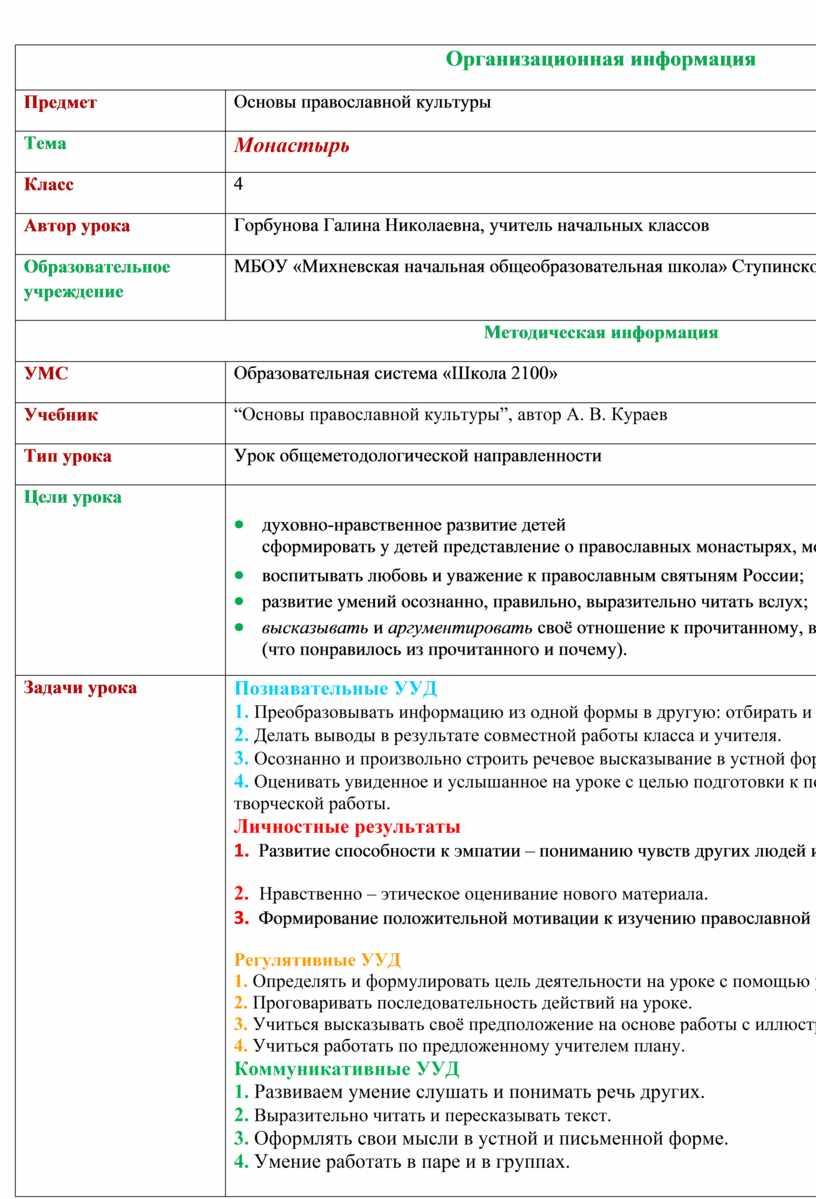 Организационная информация
