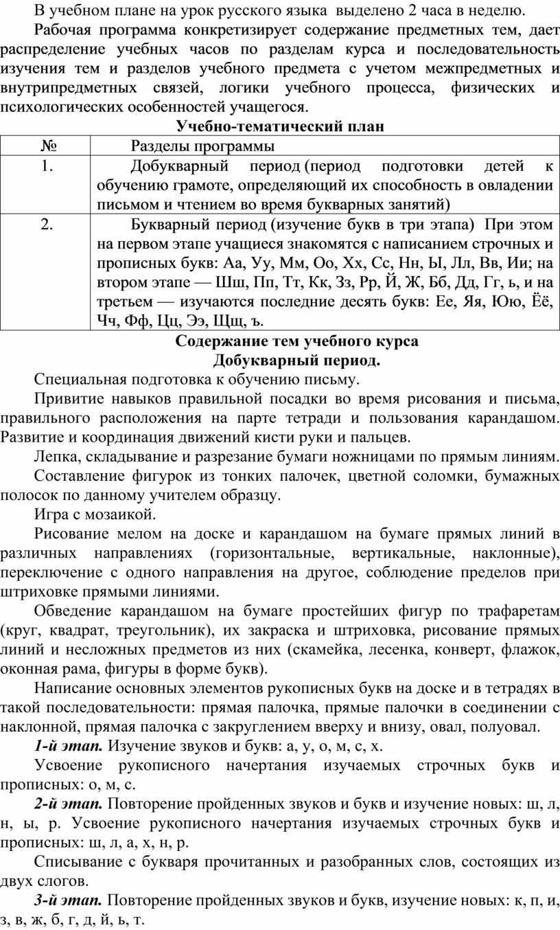 В учебном плане на урок русского языка выделено 2 часа в неделю
