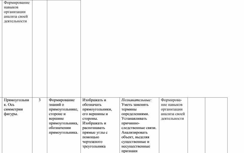 Формирование навыков организации анализа своей деятельности 48-51